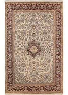Antique White Isfahan 5' 10 x 9' 4 - No. 68387