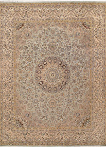 Dark Sea Green Kashan 9' 1 x 12' 1 - No. 68538